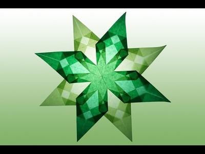 8 Zackiger grüner Stern aus Transparentpapier selber basteln