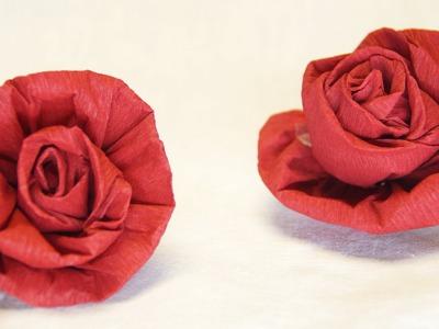 Blumen basteln: Rose aus Krepppapier, Feinkrepp basteln.  How to make crepe paper roses flowers.