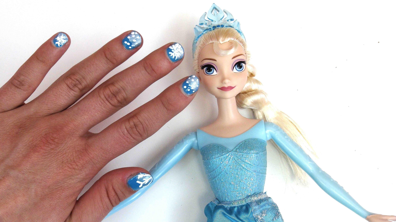 Disney Princess nail art tutorial - DIY Nageldesign Disney Eiskönigin - Inspiriert von frozen