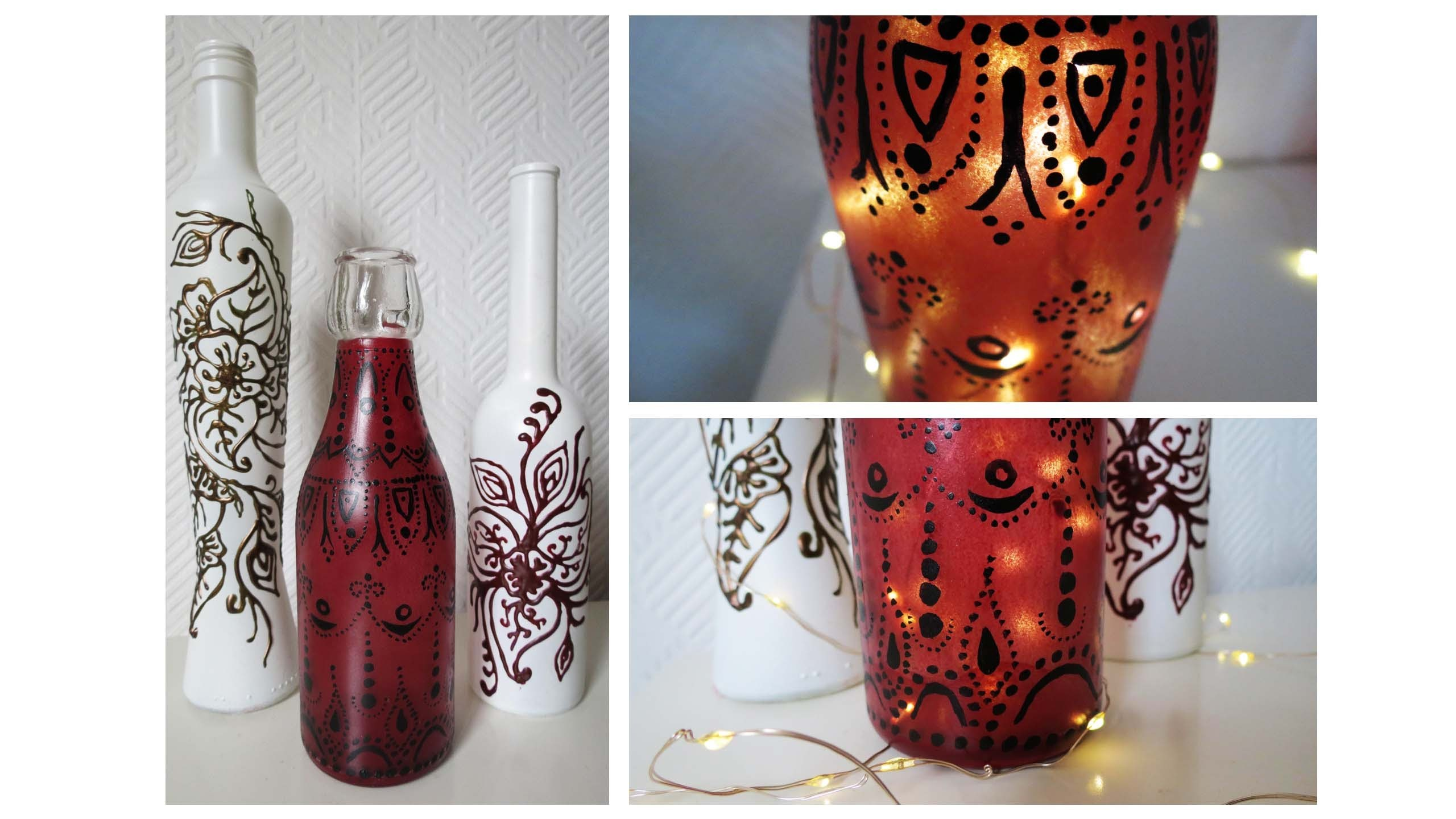 Flaschen bemalen * 2 Varianten * Painted Bottles DIY [eng sub]