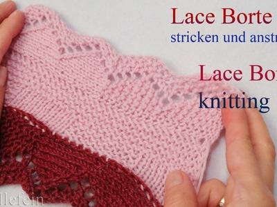 Lace Bordüre stricken und anstricken - Knitting on Lace Border 2