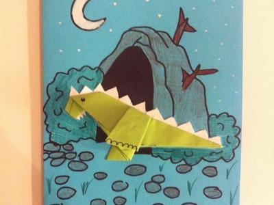 Origami Karte Drachen aus Papier Geschenkkarte basteln gestalten DIY