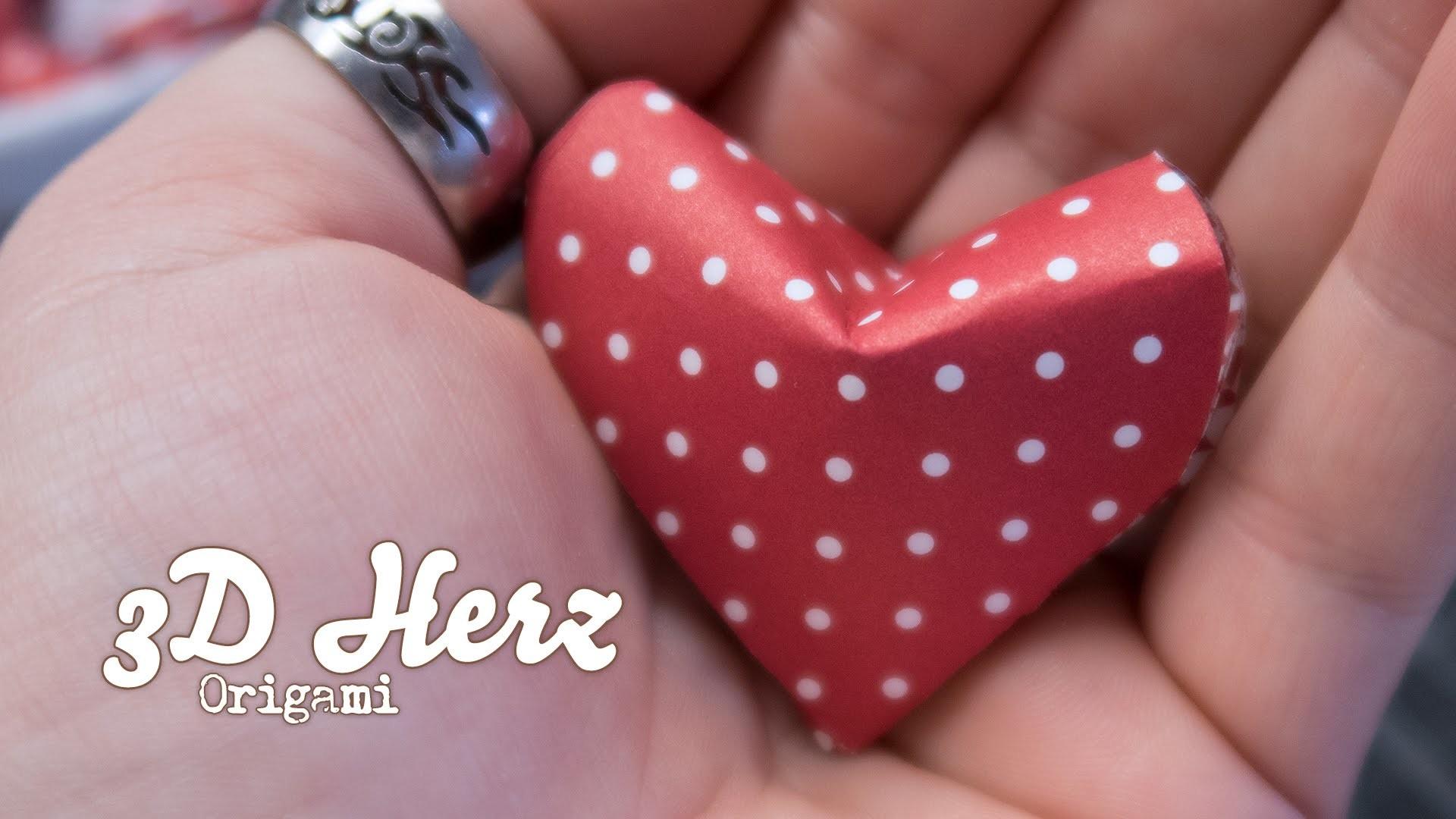 Anleitung ❤ Origami Herz zum Valentinstag in 3D