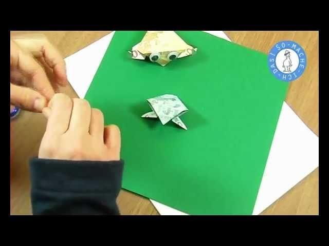 geldscheine falten frosch kr te geldgeschenke origami. Black Bedroom Furniture Sets. Home Design Ideas
