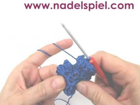 Häkeln lernen * Irische Häkelblüte * Irische Rose * Häkelmotiv sechsseitig mit Blättern