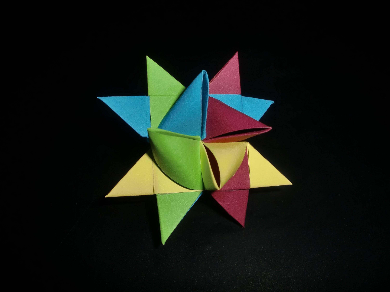 Origami German Star: Bunter Fröbelstern - Tutorial [HD.deutsch]