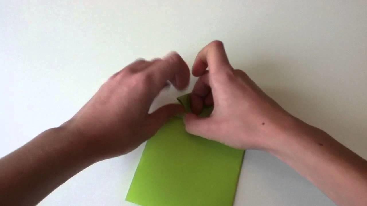 Springenden Origami Frosch falten - Origami Tier basteln