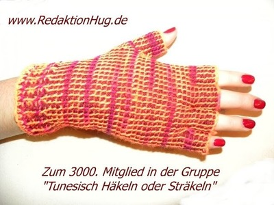 Tunesisch Häkeln - Handschuhe - fingerlose Gärtnerhandschuhe - Veronika Hug