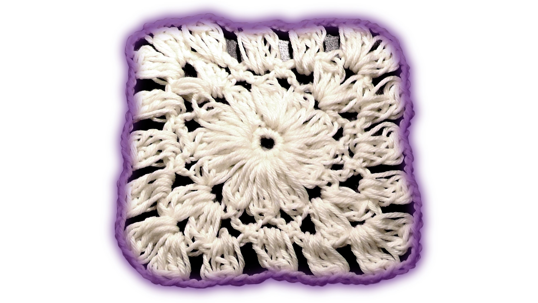 Wooly Flower Granny Square Häkelanleitung - Rosy Green Wool Linkshänder