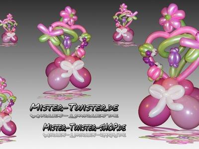 Balloon Art decoration heart flower, Ballon Dekoration Herz Blume Marienkäfer Modellierballon