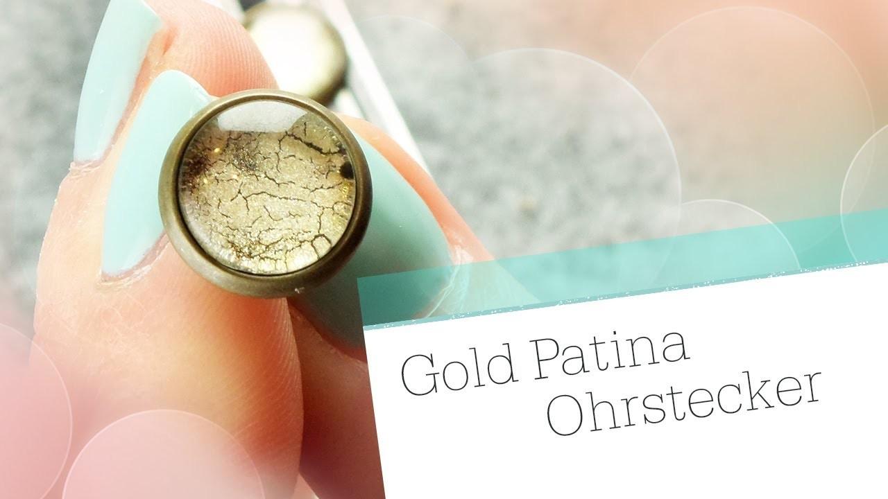 DIY Gold Patina Ohrringe. Glas Cabochon Schmuck Tutorial