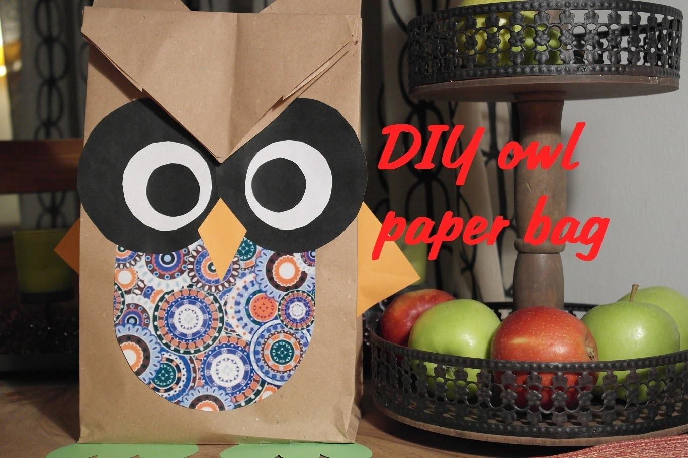 DIY Owl paper bag. Gift Bag. süße Geschenktüte Tutorial