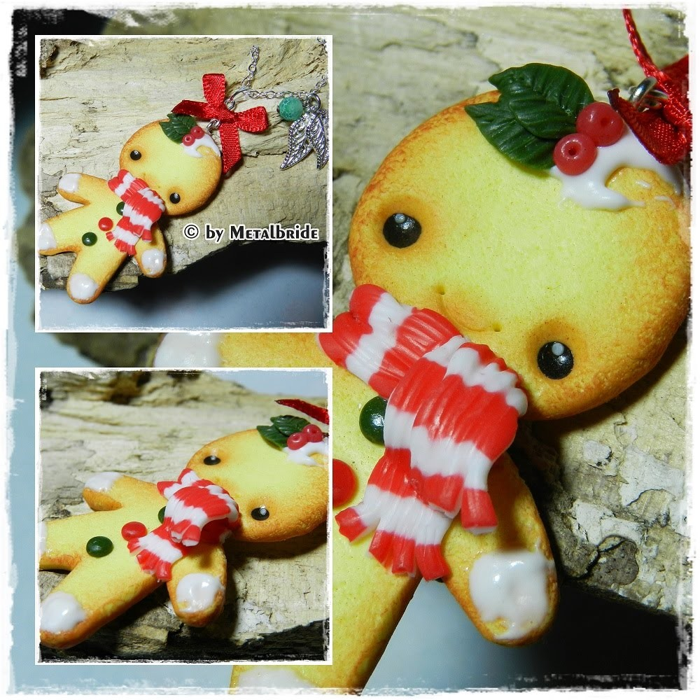 Let´s knet - Polymer Clay.Fimo Tutorial Christmas Cookieman Necklace