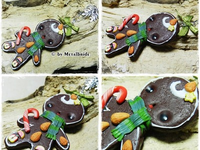 Let´s knet - Polymer Clay.Fimo Tutorial Gingerbreadman necklace