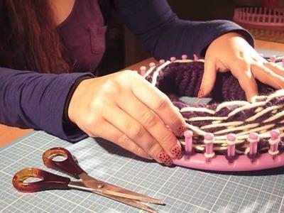 Mütze.Beanie mit Muster stricken mit dem Knitting Loom bzw. Strickring (Schrägstreifen)