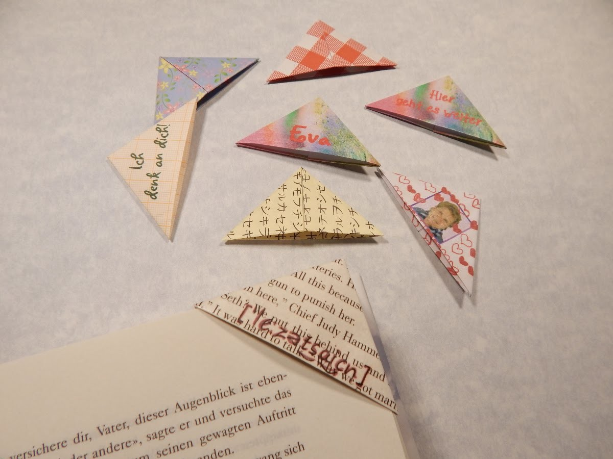 origami lesezeichen einfach selber falten. Black Bedroom Furniture Sets. Home Design Ideas