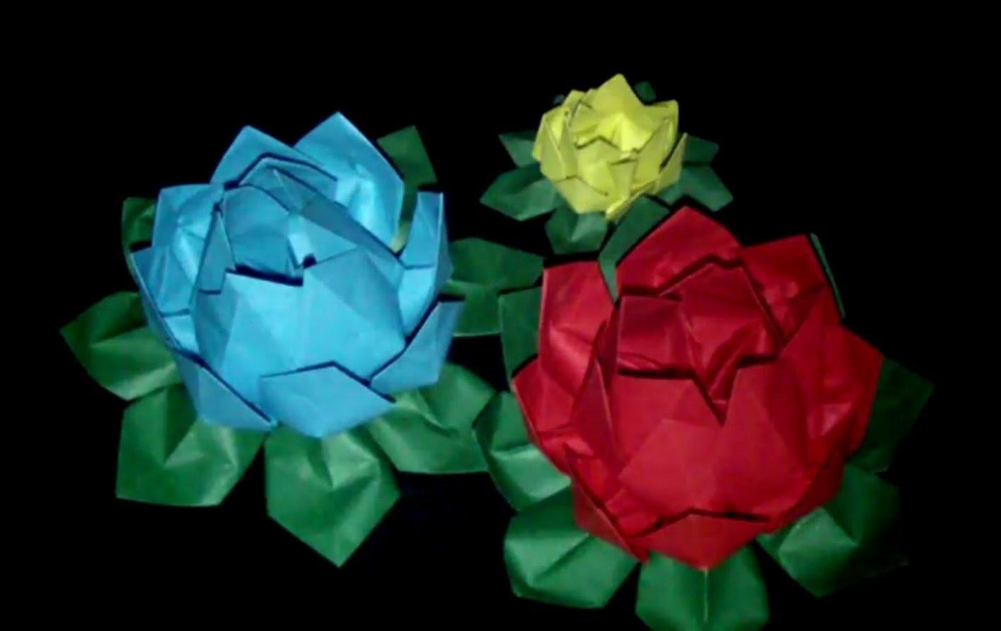 Origami Lotosblume: Faltanleitung [HD.deutsch]