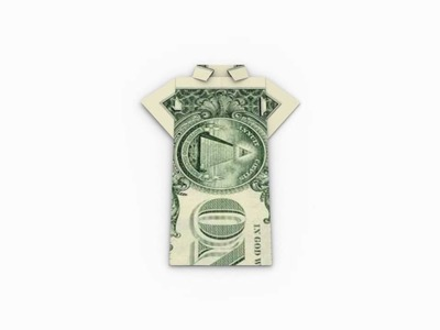 Origami Money. Geld (1 Dollar) Shirt - Folding Instruction. Faltanleitung in 3D