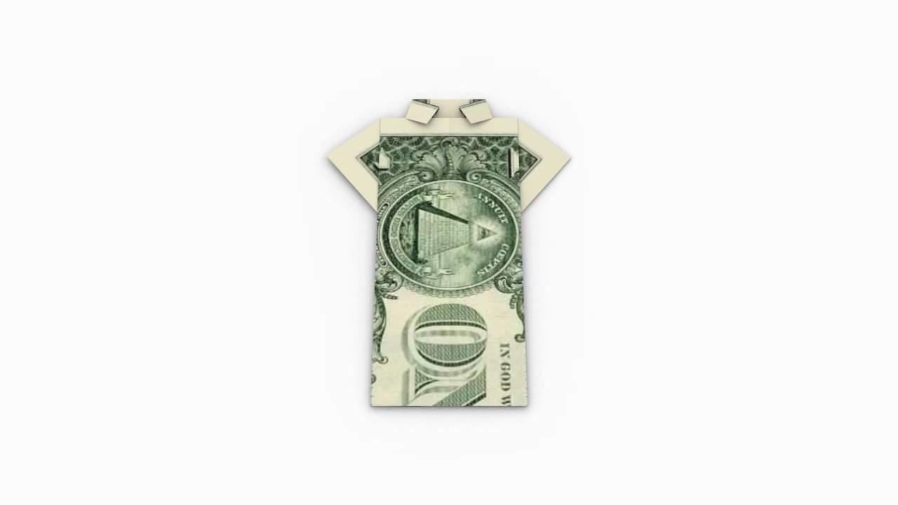 Origami Money. Geld (1 Dollar) Shirt - Folding Instruction. Faltanleitung in 3D