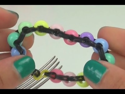 Rainbow Loom Perlen Armband Anleitung deutsch mit Gabel Perler beads tutorial with fork