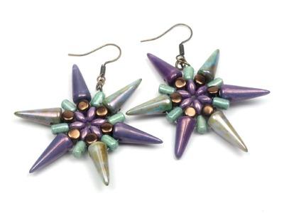 Schmuck selber machen: Ohrringe aus Spike Beads, Rulla, Superduo und Pellet Beads.