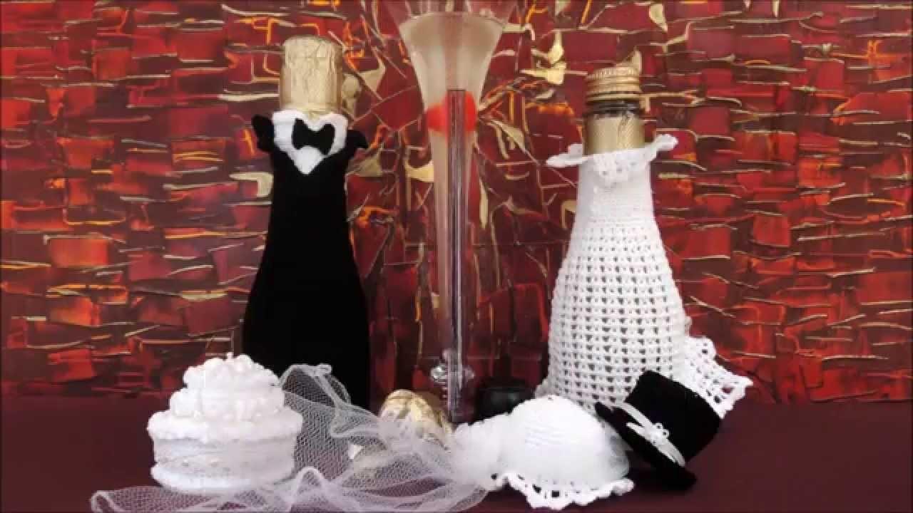 Sektflaschen Braut und Bräutigam, HÄKELN, CROCHET