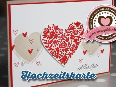 Tutorial: Hochzeitskarte basteln, mit Produkten von Stampin' Up!