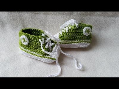 Babyschuhe häkeln – Turnschuhe – Sneakers - Teil 5 - Schnürsenkel Logo by BerlinCrochet