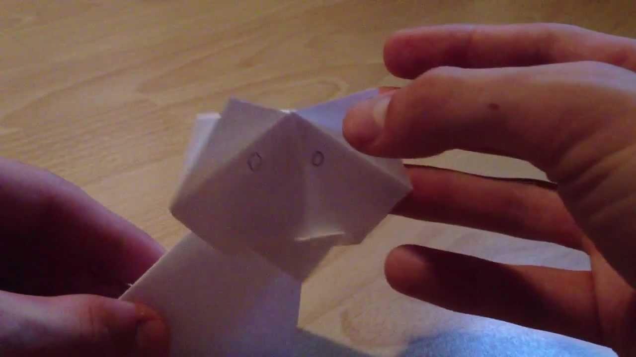 Bastelanleitung Katze - Origami Katze. Papier Katze