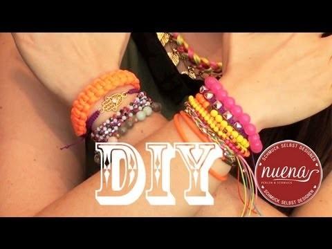 DIY NEON Paracord Shamballa Makramee Armband selbst gestalten deutsch