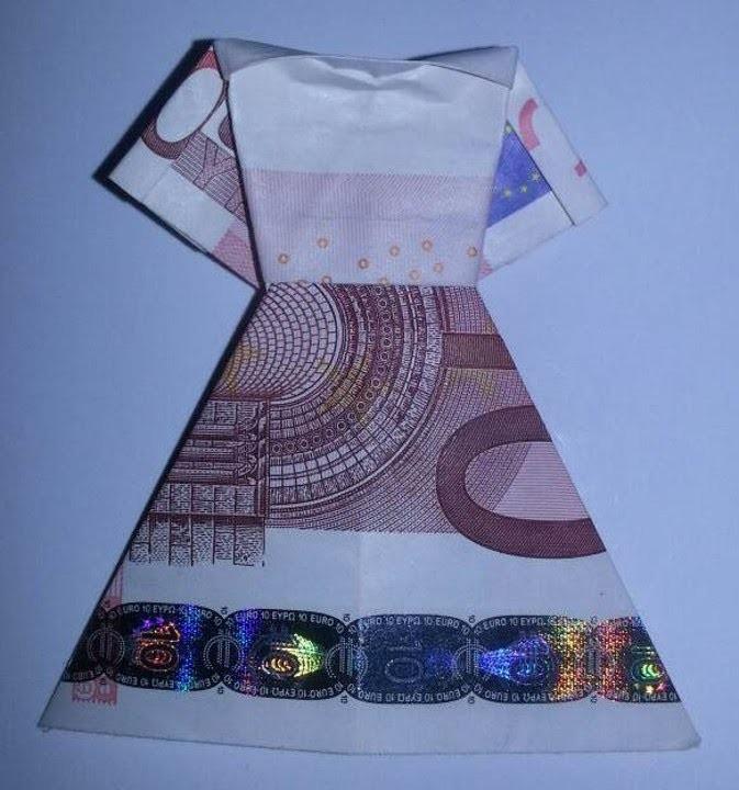 Kleid aus Geldschein falten - Geldgeschenk für Hochzeit