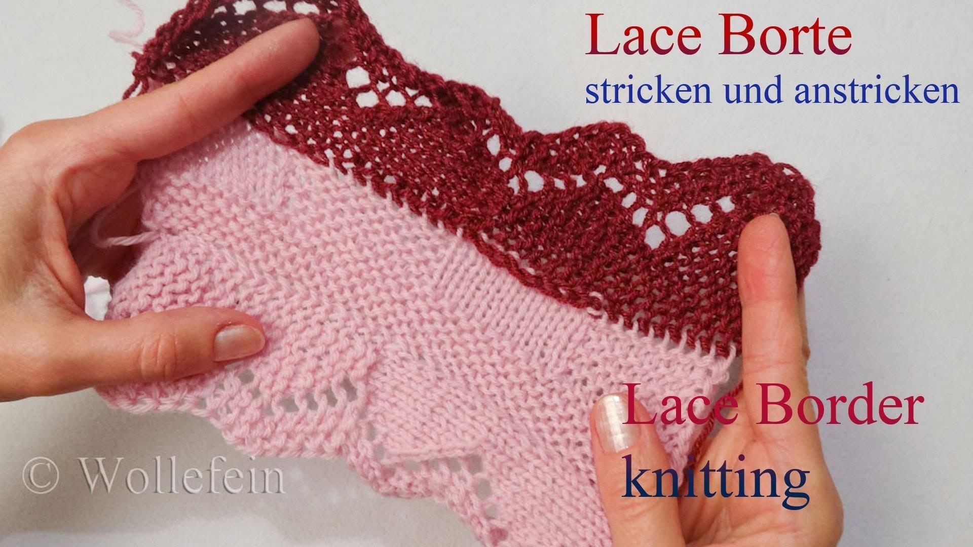Lace Bordüre stricken und anstricken - Knitting on Lace Border 3