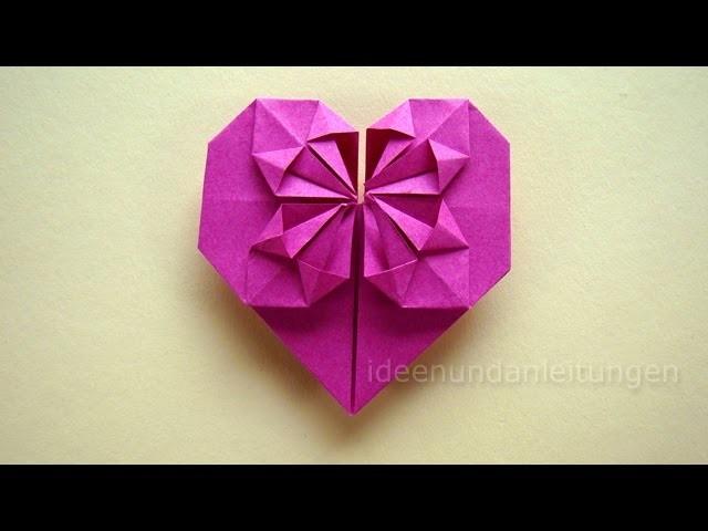 Origami Anleitung: Herz falten - Geschenk selber falten mit Papier z.B. für Freundin