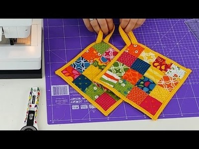 DIY Patchwork Topflappen TOPFI Nähanleitung (Tutorial for Potholders)