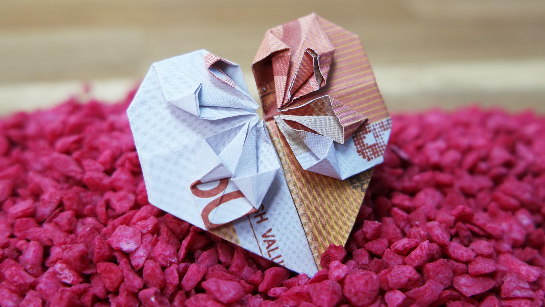 Geldschein falten Herz - Geldgeschenk zur Hochzeit, DIY Origami Tutorial Deutsch #TrauDirWasZu