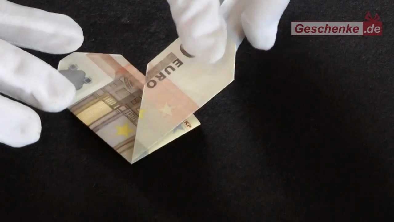 Geldschein falten Herz. Origami: Geld zum Herz falten - DIY - Muttertag