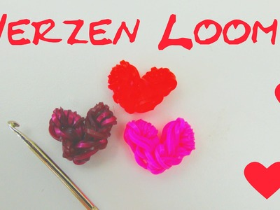 Loom Bands Herz deutsch Anleitung DIY Herzenloom auf der Häkelnadel Tutorial loom bands heart