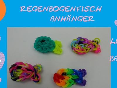 DIY Loom Bands Regenbogen Fisch Anhänger mit Loom Board Anleitung deutsch - Loom Fish Tutorial