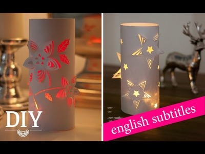 DIY: weihnachtliche 3D-Deko-Windlichter aus Papier. 3D wind lights made from paper | Deko Kitchen