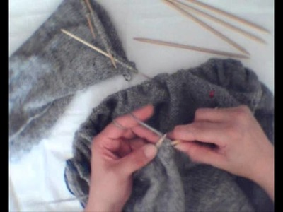 Islandpullover stricken - Ärmel und Body zur Rundpasse verbinden