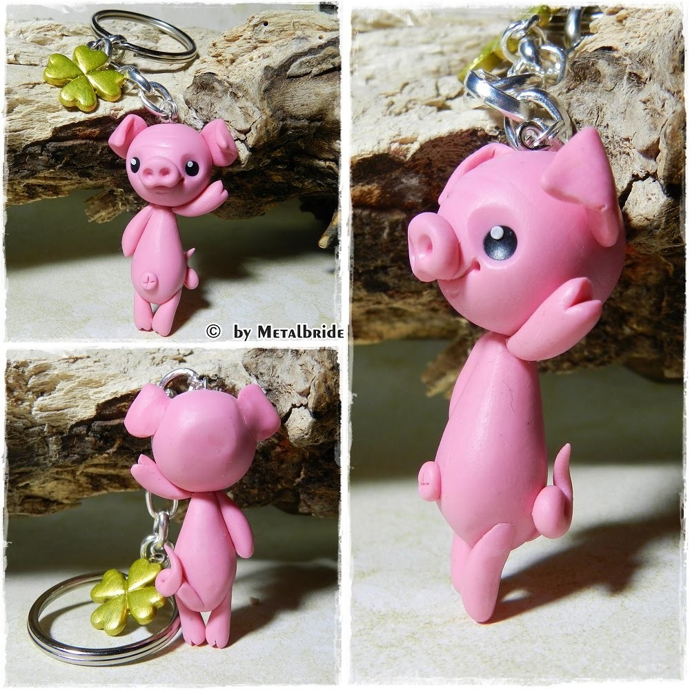 Let´s knet - Polymer Clay.Fimo Tutorial Kawaii lucky pig keychain