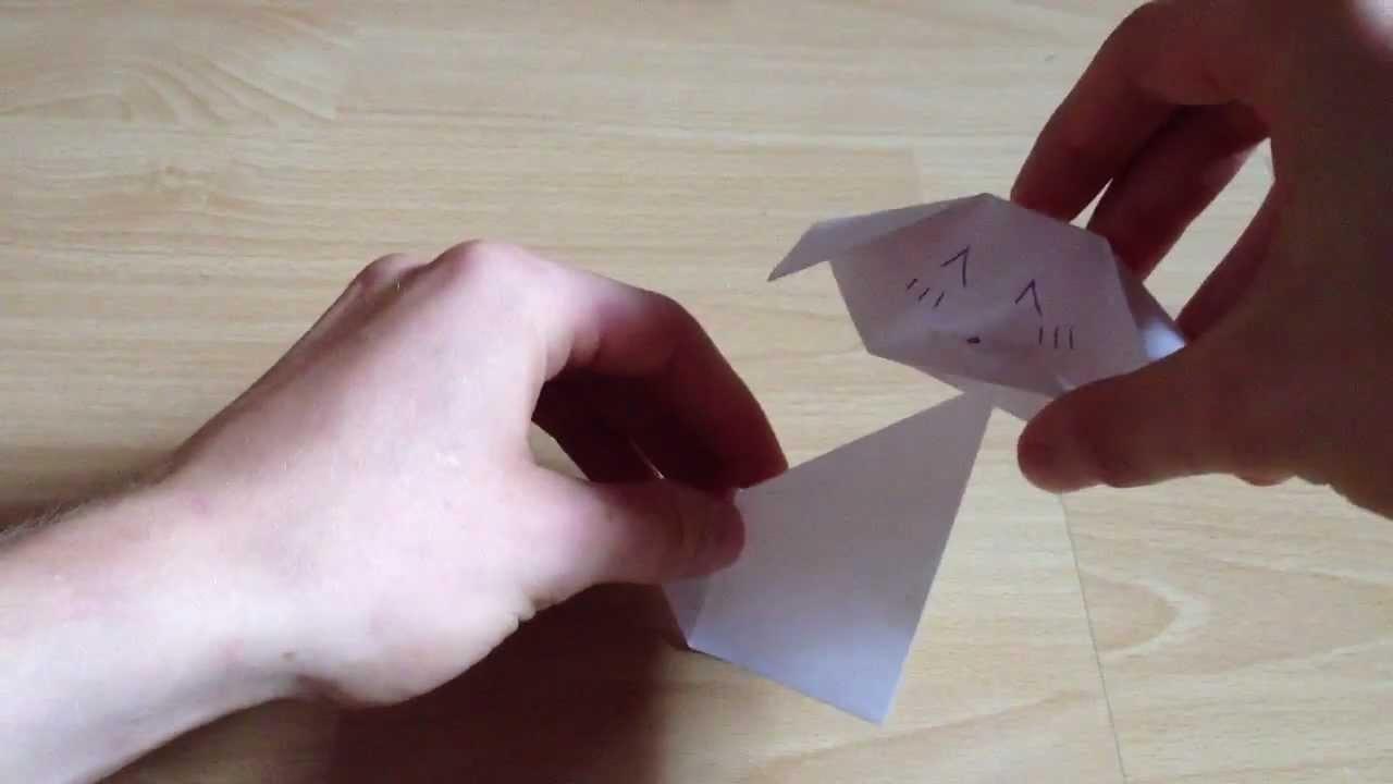 Origami Hündin selber falten - Anleitung für Origamitiere