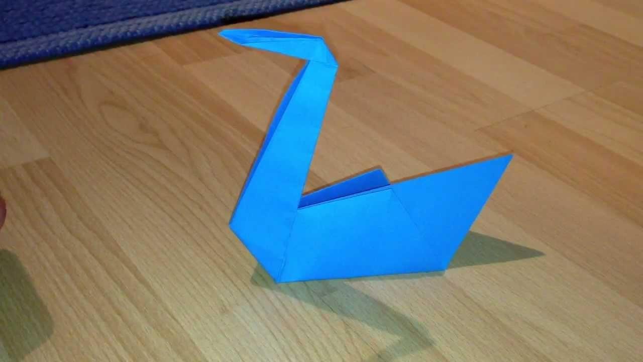 Schwan aus Papier basteln. Origami- Schwan falten