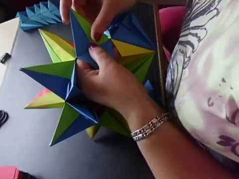 Weihnachtsstern, Origami Stern, Bascetta Stern, aus Papier, geklebt, basteln - Anleitung