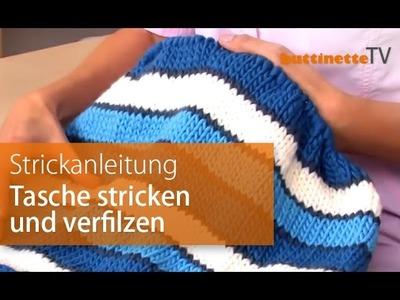 Anleitung Tasche stricken und filzen
