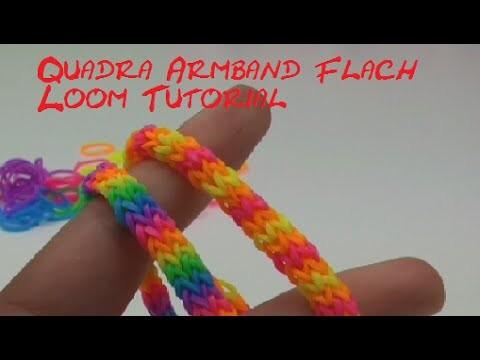 DIY flaches Quadrafisch Armband Loom Anleitung Deutsch Gabel. How To Rainbow Loom Quadra Fishtail