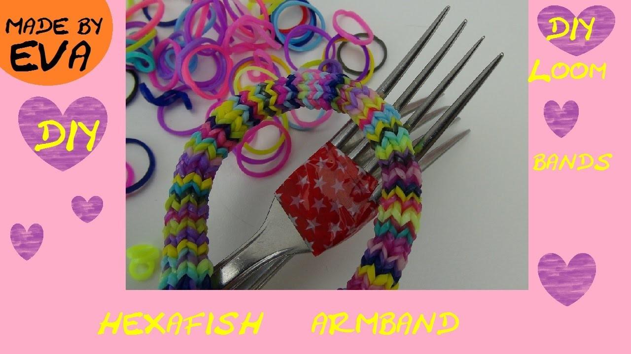 DIY Hexafish Loom Armband Anleitung mit Gabel deutsch - how to make a rainbow loom Hexafish bracelet