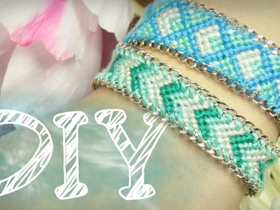 DIY Knüpfarmband in Pfeiloptik mit Kette - Freundschaftsarmband - Kettenarmband