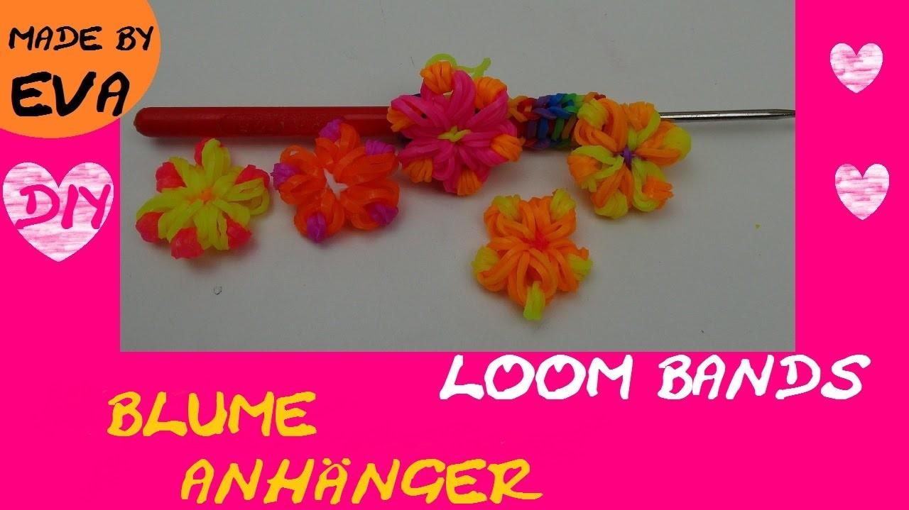 DIY Loom Blumen Anhänger mit Häkelnadel selber machen Anleitung deutsch rainbow loom flower Tutorial