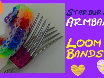 DIY Rainbow Loom Starburst Bracelet. Sternchen Armband. Anleitung deutsch. mit Gabel